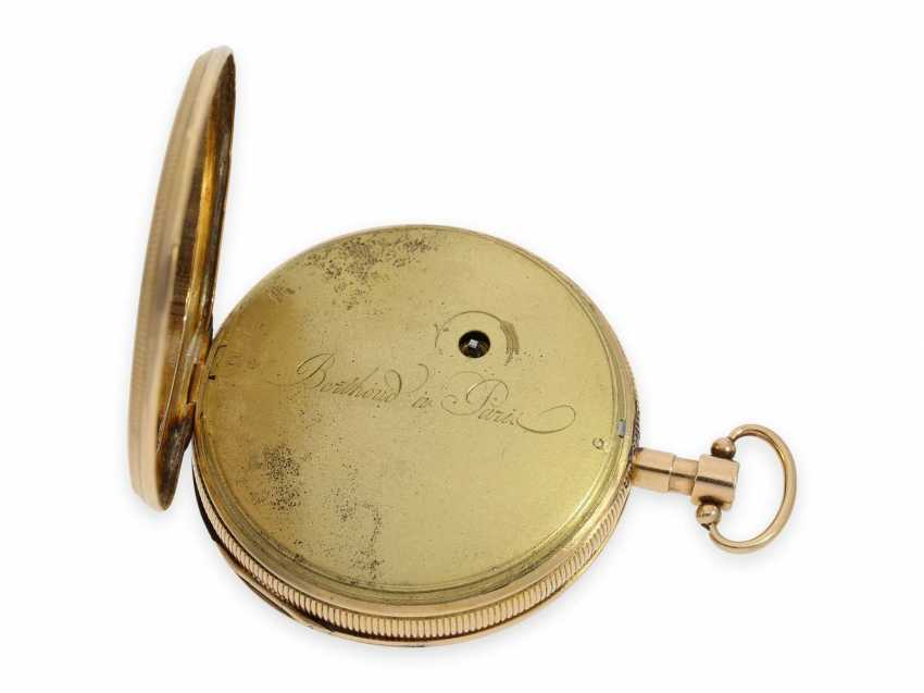 "Pocket watch: very fine, very rare figure vending machine with 4 motion sequences, so-called ""Punchinello"" signed Berthoud a Paris, CA. 1820 - photo 4"