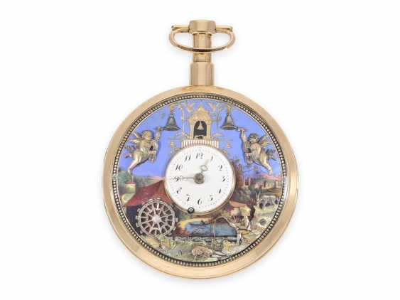 """Pocket watch: important, great, historically interesting gold enamel pocket watch with two Jacquemarts and three automatons """"of The anglers at the mill"""", Switzerland, C. 1810 - photo 1"""
