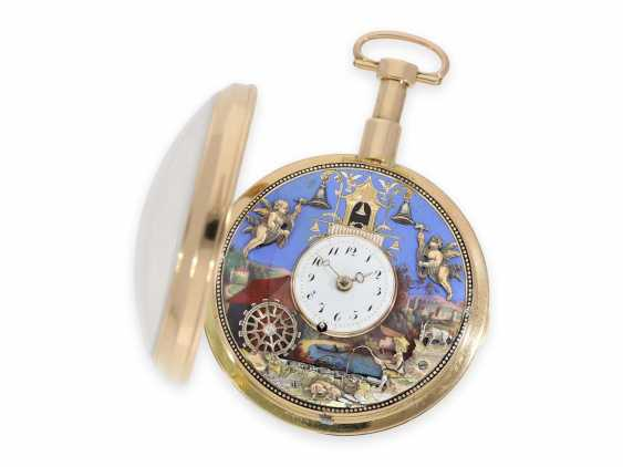 """Pocket watch: important, great, historically interesting gold enamel pocket watch with two Jacquemarts and three automatons """"of The anglers at the mill"""", Switzerland, C. 1810 - photo 2"""