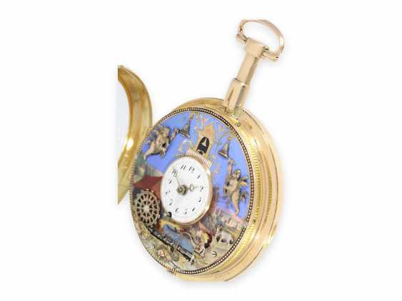 """Pocket watch: important, great, historically interesting gold enamel pocket watch with two Jacquemarts and three automatons """"of The anglers at the mill"""", Switzerland, C. 1810 - photo 4"""