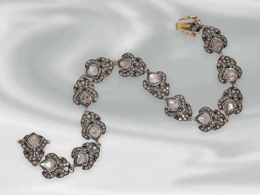 Bracelet: antique bracelet with rich diamonds, Gold and silver, probably 19th century. Century, probably Oriental - photo 1