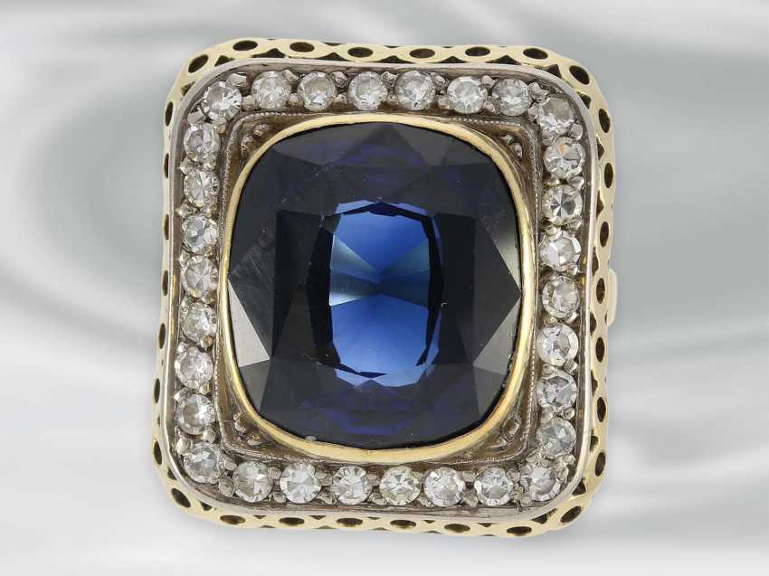 Ring: large decorative Ring with diamond and blue color stone, 14K Gold, possibly Dating from the Art Deco - photo 1