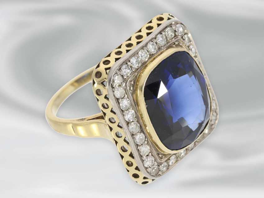 Ring: large decorative Ring with diamond and blue color stone, 14K Gold, possibly Dating from the Art Deco - photo 2