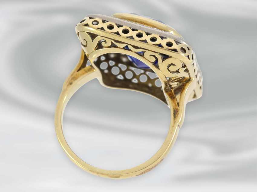 Ring: large decorative Ring with diamond and blue color stone, 14K Gold, possibly Dating from the Art Deco - photo 3