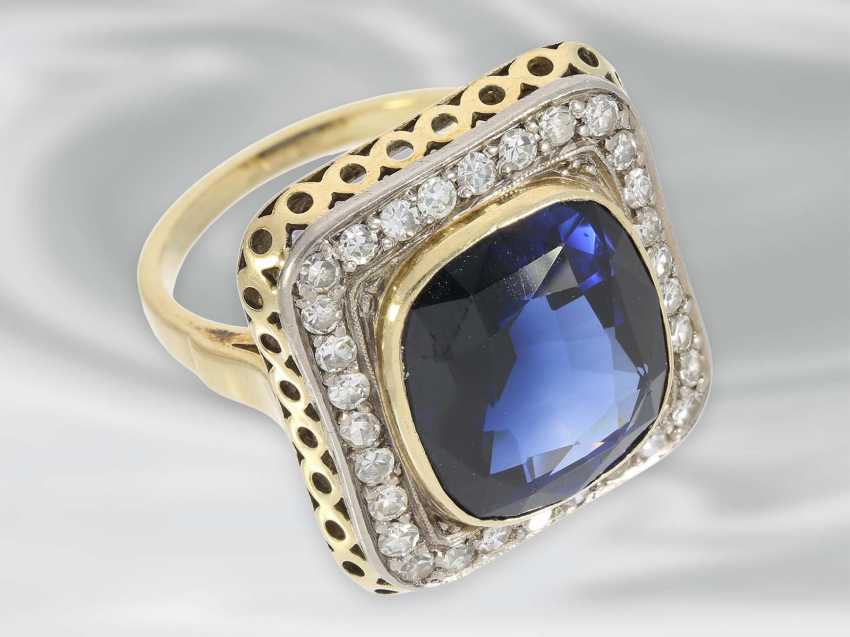 Ring: large decorative Ring with diamond and blue color stone, 14K Gold, possibly Dating from the Art Deco - photo 4