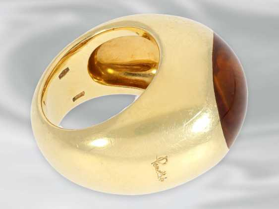 Ring: solid, exceptional design ring with citrine, 18K yellow gold, brand jewelry of Pomellato, Milan - photo 3