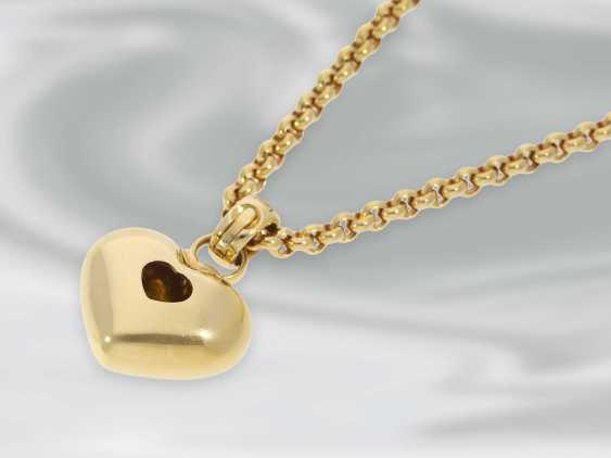 "Chain/necklace: yellow gold heart necklace, ""Happy Diamonds"" by Chopard, 18K Gold, with certificate - photo 2"