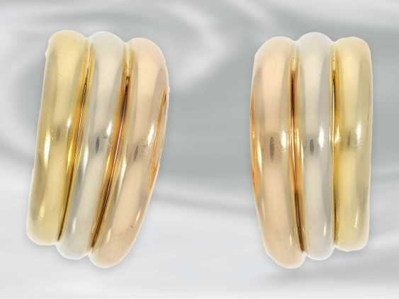 """Earrings: high quality Designer Hoop earrings by Cartier Paris, """"Trinity"""", early 90s, with original case - photo 2"""