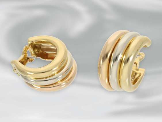 """Earrings: high quality Designer Hoop earrings by Cartier Paris, """"Trinity"""", early 90s, with original case - photo 3"""