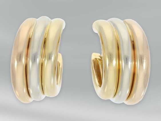 """Earrings: high quality Designer Hoop earrings by Cartier Paris, """"Trinity"""", early 90s, with original case - photo 5"""