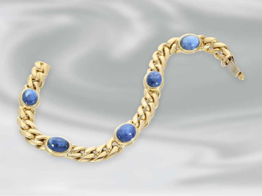 Bracelet: wide vintage chain bracelet in 18K Gold with a beautiful sapphire Cabochons, handmade - photo 2