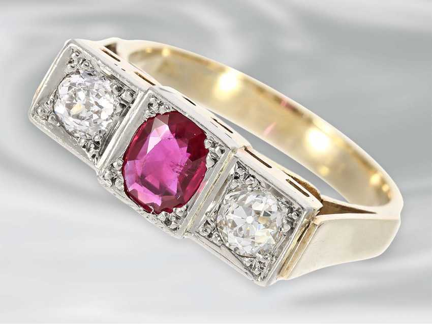 Ring: very beautiful Art Deco gold wrought ring with ruby trim and 2 old European cut diamonds, 14K Gold - photo 1