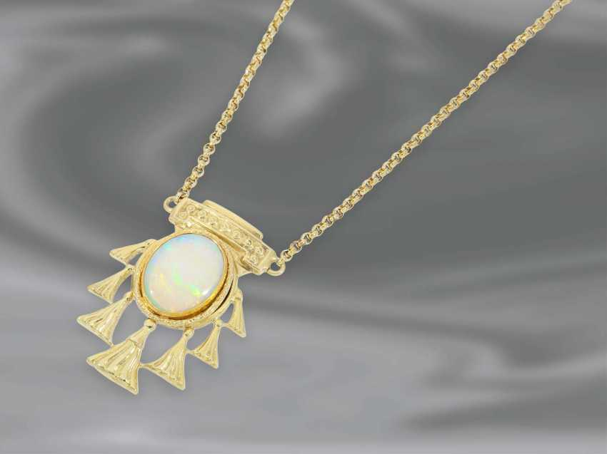 Necklace/Collier: fine vintage gold chain in the Erbsmuster with a beautiful Opal center part, 14K Gold - photo 1