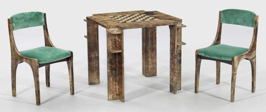 Exceptional game table and Pair of chairs by Aldo Tura - photo 1