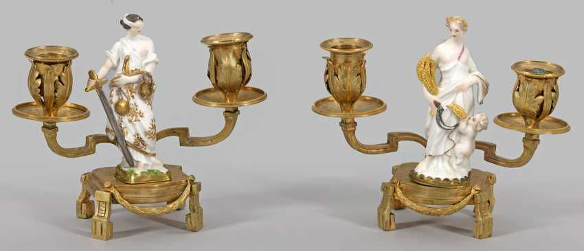 Pair of candlesticks with allegorical Meissen figures - photo 1