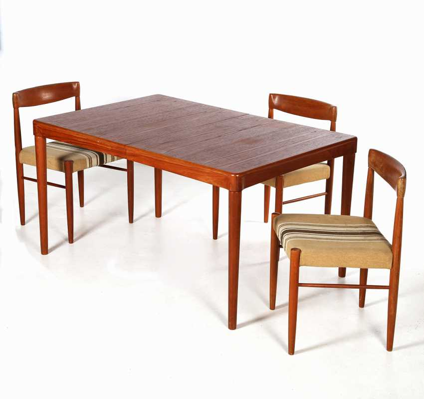 "H. W. KLEIN, ""dining TABLE MODEL no. 62 AND 3 CHAIRS"" - photo 1"