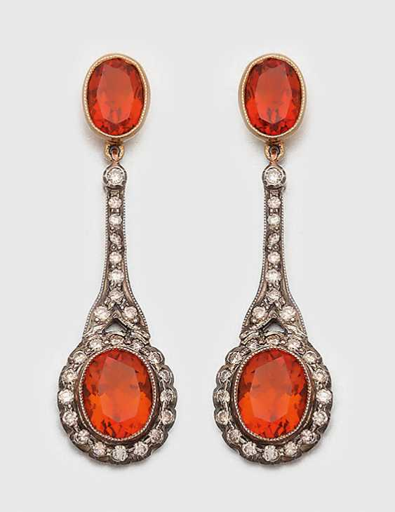 Pair of Victorian Madeira citrine drop earrings - photo 1