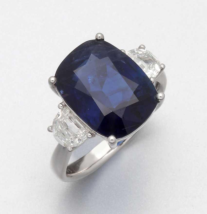 High quality full Royal blue Burma sapphire ring - photo 1