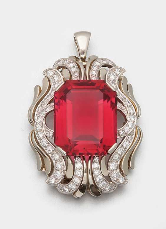 Изысканная Rubellit брошь с бриллиантами - фото 1