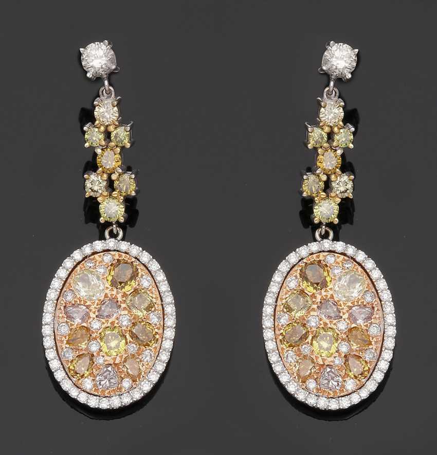 Pair of extravagant Fancy diamond drop earrings - photo 1