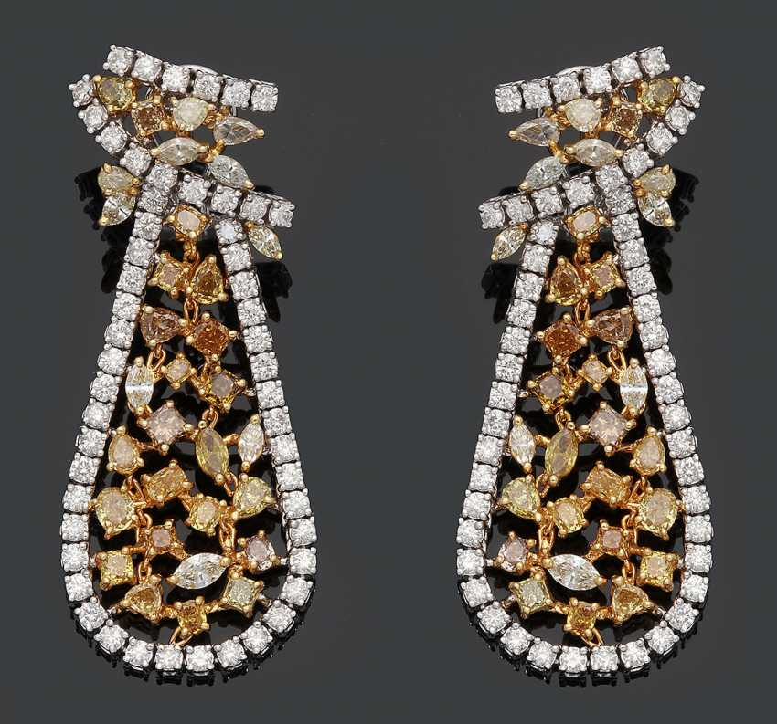 Pair of extravagant drop earrings with Fancy Yellow diamonds - photo 1