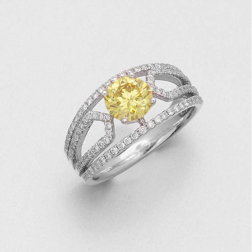 Eleganter Fancy Vivid-Yellow-Brillant-Solitärring - photo 1