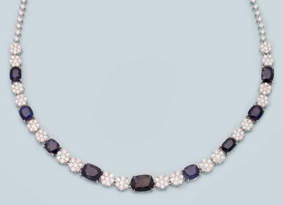 Elegant diamond necklace with Burma sapphires - photo 1