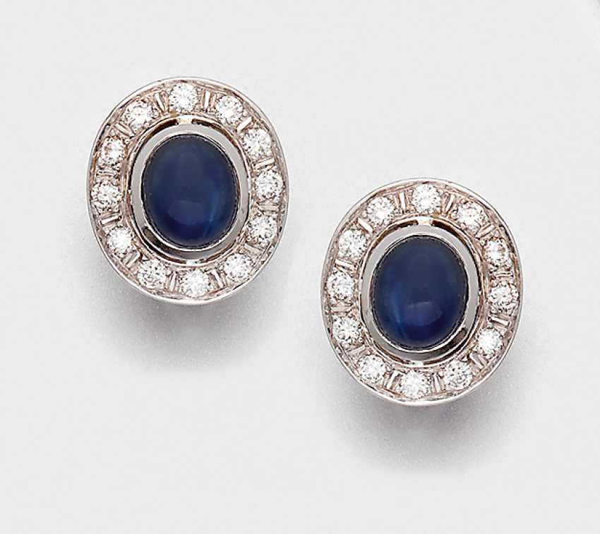 Pair of classic sapphire and diamond clip-on earrings - photo 1