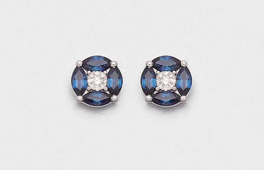 Few fine sapphires diamond earrings - photo 1