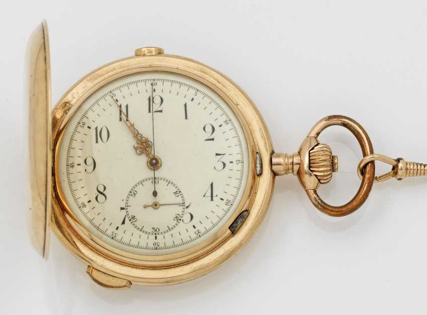 Gold savonette-pocket-watch with 1/4-hour repeater factory - photo 1
