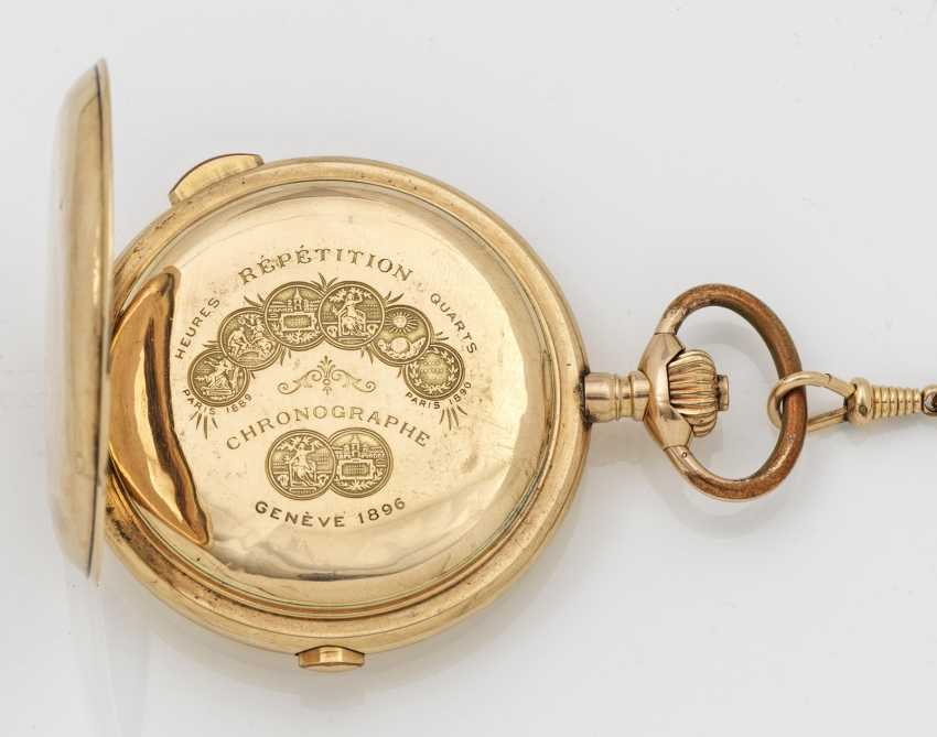Gold savonette-pocket-watch with 1/4-hour repeater factory - photo 2