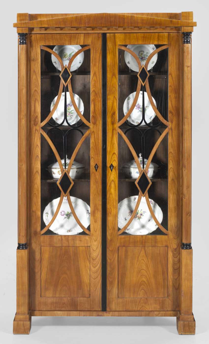 Large Biedermeier Corner Display Case Cabinet - photo 1