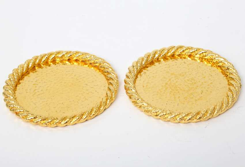 Pair Of Coasters, 24-Carat-Gold Plating, 20./21. Century - photo 1