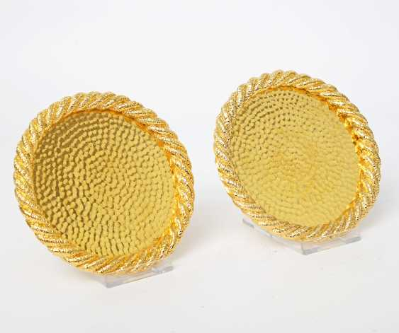 Pair Of Coasters, 24-Carat-Gold Plating, 20./21. Century - photo 2
