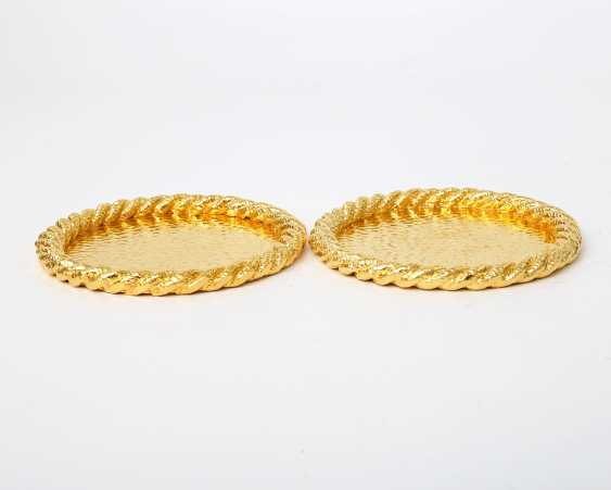 Pair Of Coasters, 24-Carat-Gold Plating, 20./21. Century - photo 3
