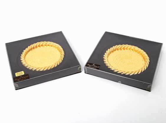 Pair Of Coasters, 24-Carat-Gold Plating, 20./21. Century - photo 4