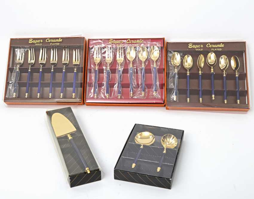 MARTIAN dessert Cutlery for 9 people, 21teilig, partly gilded, 20. Century - photo 1