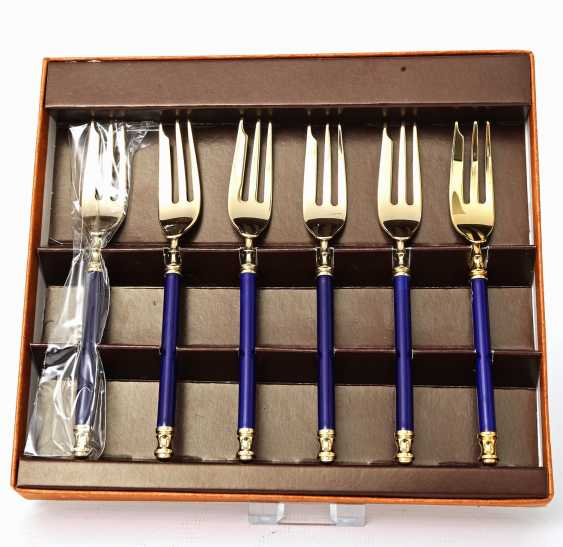MARTIAN dessert Cutlery for 9 people, 21teilig, partly gilded, 20. Century - photo 3