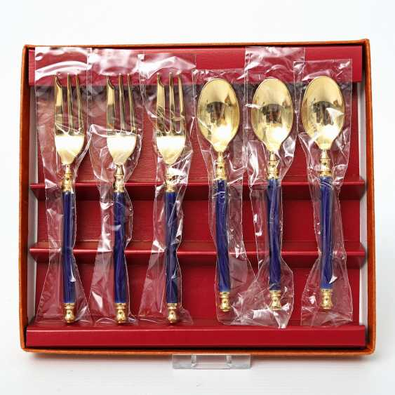 MARTIAN dessert Cutlery for 9 people, 21teilig, partly gilded, 20. Century - photo 4