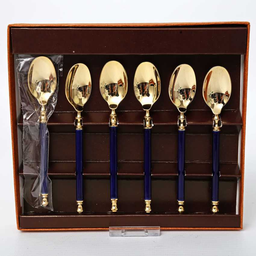MARTIAN dessert Cutlery for 9 people, 21teilig, partly gilded, 20. Century - photo 5