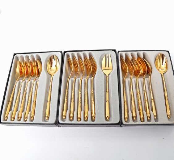 ORFÈVRERIE DE CHAMBLY dessert Cutlery for 9 people, 20teilig, gold plated, 20. Century - photo 2