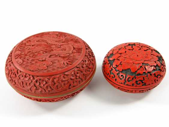 Two Lacquer Red-Lid Cans. CHINA, 20. Century - photo 1