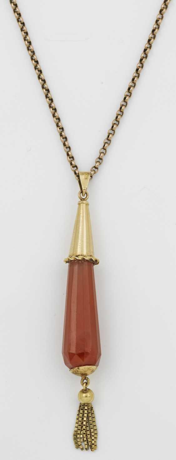 Art Deco carnelian pendant with chain - photo 1