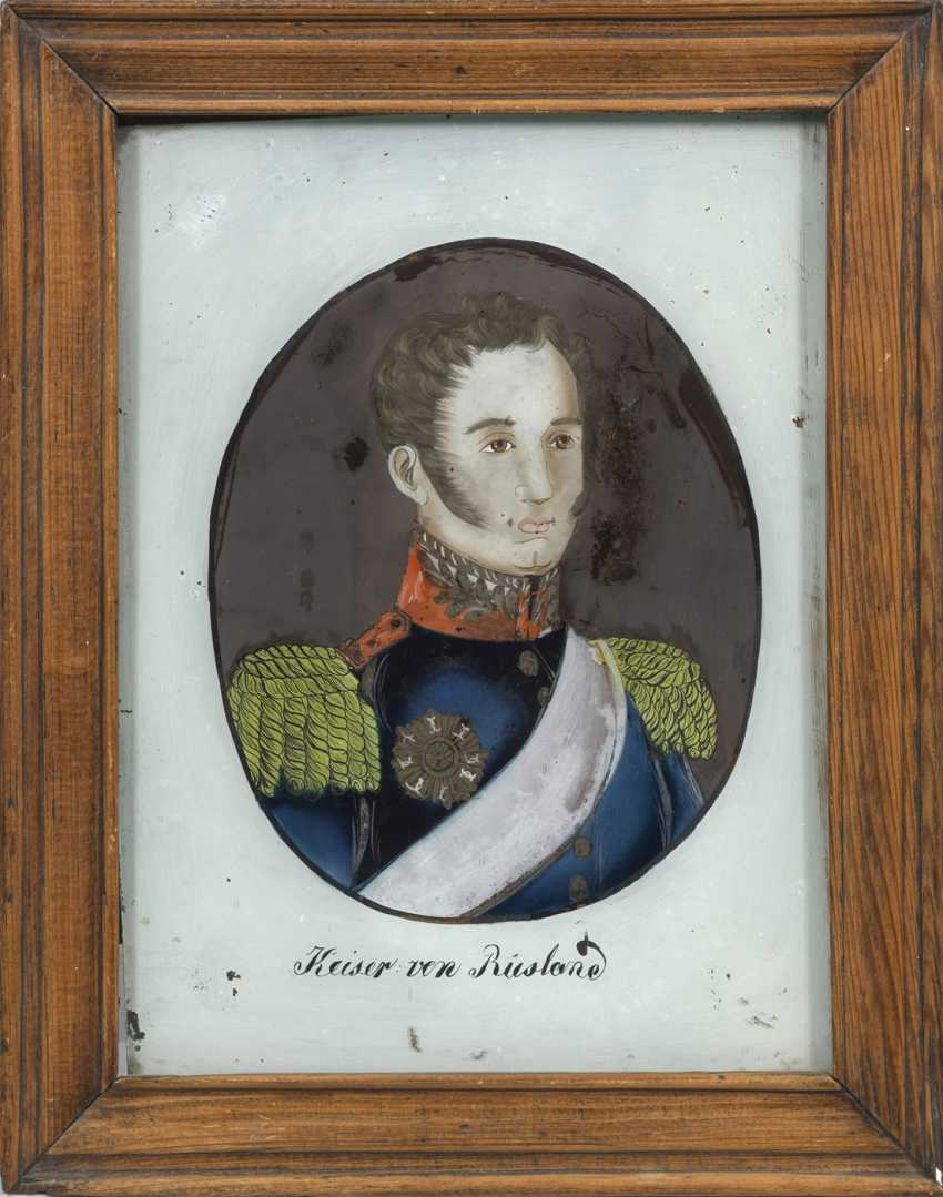 Painting on glass with a portrait of Tsar Alexander I of Russia - photo 1