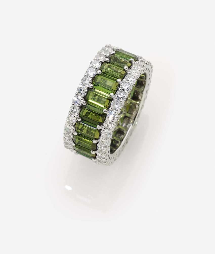 Memory кольцо с бриллиантами и турмалин - фото 1