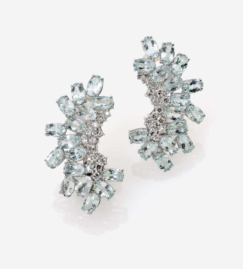 Earrings with aquamarines and diamonds - photo 1