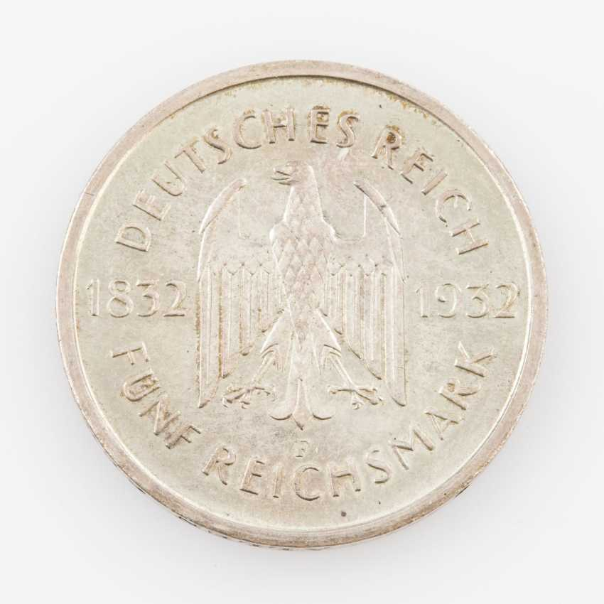 Weimar Republic - 5 Reichsmark 1932/F, Goethe, Hunters, 351, - photo 2