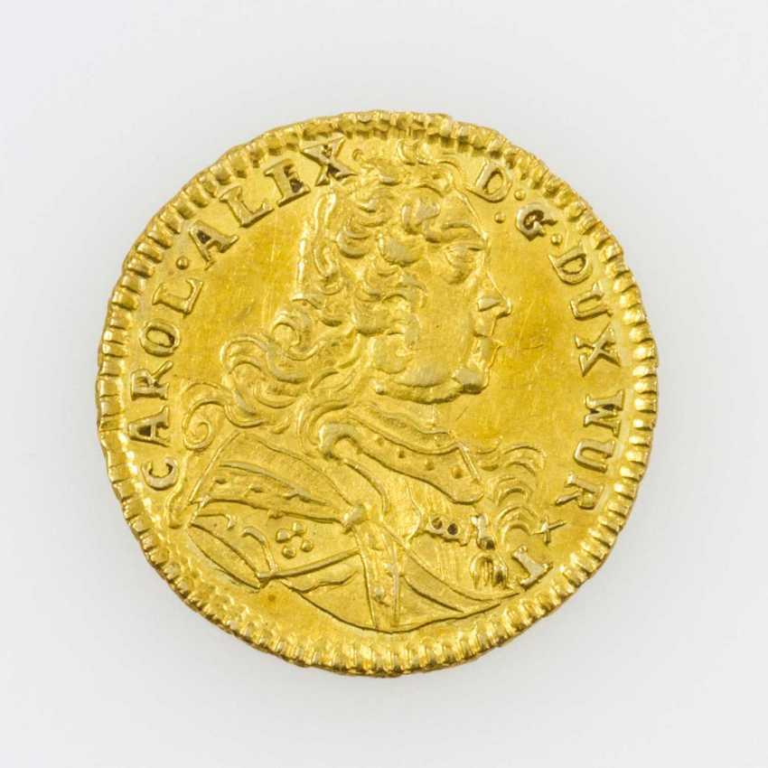 Württemberg/Gold - 1/4 Karolin 1736, F. B., Av: breast image n. r., - photo 1