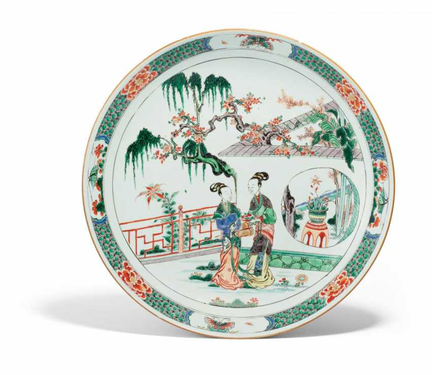 Large plate with two ladies in a garden landscape - photo 1
