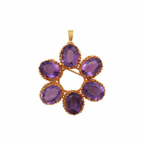 Pendant/brooch with 6 oval fac. Amethysts - photo 1